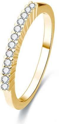 Beneto Pozlátený strieborný prsteň s kryštálmi AGG189 60 mm