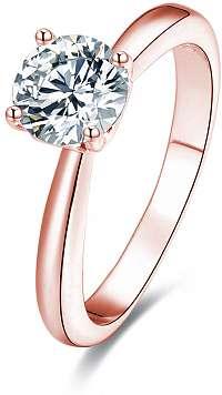 Beneto Ružovo pozlátený strieborný prsteň s kryštálmi AGG201 mm