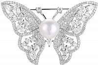 Beneto Strieborná trblietavý brošňa s pravou perlou Motýľ AGBR3