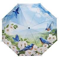 Blooming Brollies Dámsky skladací plne automatický dáždnik Blue Birds GBFBBN