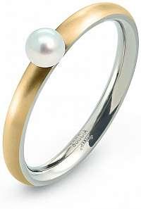 Boccia Titanium Pozlátený titánový prsteň s perličkou 0145-02 mm