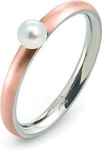 Boccia Titanium Ružovo pozlátený titánový prsteň s perličkou 0145-03 mm