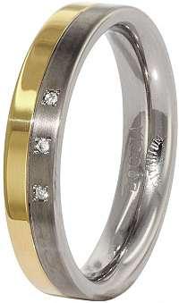 Boccia Titanium Snubný titánový prsteň s diamantmi 0129-04 mm