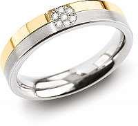 Boccia Titanium Úžasný prsteň z titánu s diamantmi 0129-06 58 mm