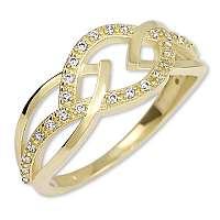 Brilio Dámsky prsteň zo žltého zlata s kryštálmi 229 001 00805 58 mm