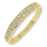 Brilio Dámsky zlatý prsteň s kryštálmi 229 001 00670 mm
