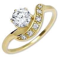 Brilio Krásny zlatý prsteň s kryštálmi 229 001 00807 mm