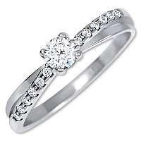 Brilio Pôvabný prsteň s kryštálmi z bieleho zlata 229 001 00810 07 mm