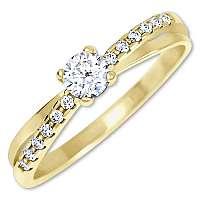 Brilio Pôvabný prsteň s kryštálmi zo zlata 229 001 00810 60 mm