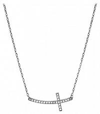 Brilio Zlatý náhrdelník Krížik naležato s kryštálmi9 001 00079 07