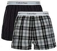 Calvin Klein 2 PACK - pánske trenírky NB1396A -JKZ Ryan Stripe Deep Well / Hickory Plaid Black L