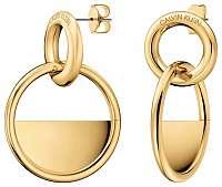 Calvin Klein Luxusné pozlátené náušnice Locked KJ8GJE100100
