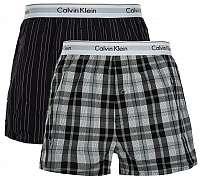Calvin Klein Sada treniek Modern Cotton Stretch Slim Boxer 2P NB1396A-JKZ Ryan Stripe Deep Well/Hickory Plaid Black S