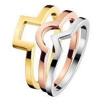 Calvin Klein Tricolor prsteň 3 v 1 Wonder KJ4VDR3001 mm