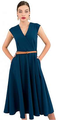 Closet London Dámske šaty Closet Flared Wrap Dress With Belt Petrol L