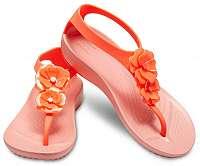 Crocs Dámske žabky Serena Embellish Flip W 205600-6PT Bright Coral/Melon-38