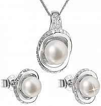 Evolution Group Luxusná strieborná súprava s pravými perlami Pavona026.1 (náušnice, retiazka, prívesok)