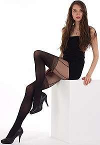 Evona Čierne pančuchové nohavice s imitáciou podväzkov Elen-999 158-100