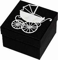 Giftisimo Luxusná darčeková krabička so strieborným kočíkom