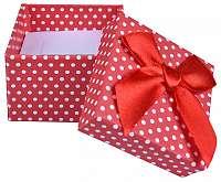 JK Box Červená Bodkovaná krabička na náušnice a prsteň KK-3 / A7