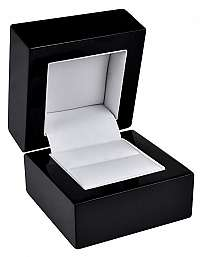 JK Box Čierna drevená krabička na prsteň BB-2 / A25