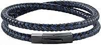 Morellato Pánsky modro-čierny kožený náramok Moody SQH16