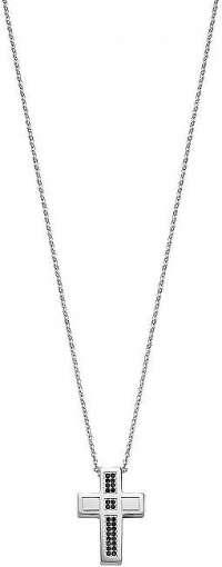 Morellato Pánsky oceľový náhrdelník s krížom a kryštály Motown SALS05