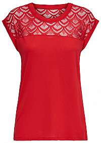 ONLY Dámske tričko ONLNICOLE S/S MIX TOP NOOS High Risk Red XL