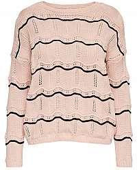 ONLY Dámsky sveter Cactus L/S Stripe Pullover Knt Rose Smoke Black Stripe W. M