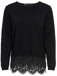 ONLY Dámsky sveter Cilla L/S Lace Mix Pullover Knit Black W.Dtm Lace M