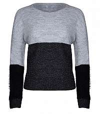 ONLY Dámsky sveter Santana L/S Block Pullover KNT Light Grey Melange L