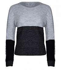 ONLY Dámsky sveter Santana L/S Block Pullover KNT Light Grey Melange XS