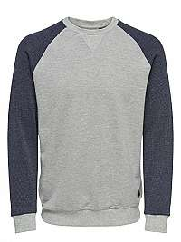 ONLY&SONS Pánska mikina Raglan Structure Sweat Light Grey XL