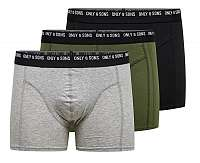 ONLY&SONS Pánske boxerky Nolen Trunk 3 Pack Box Noosa Black-Olive Night-MGM XL