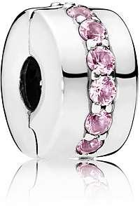 Pandora Strieborný klip s ružovými kamienkami 791972PCZ