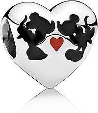 Pandora Strieborný korálik Disney Bozk Minnie a Mickeyho 791443ENMX
