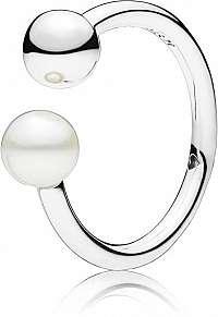 Pandora Strieborný prsteň s pravou perlou 197573P 58 mm