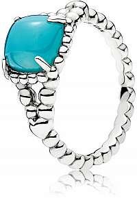 Pandora Strieborný prsteň s tyrkysovým kameňom 197188NSC mm
