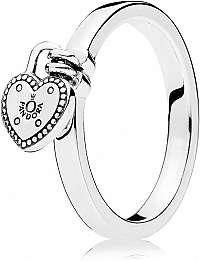 Pandora Strieborný prsteň so kaštieľom v tvare srdca 196571 mm