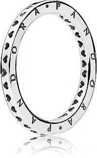 Pandora Strieborný prsteň so srdiečkami 197133 58 mm