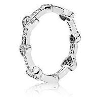 Pandora Štýlový strieborný prsteň so srdiečkami 197729CZ mm