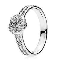 Pandora Trblietavý strieborný prsteň s uzlíkom 190997CZ 58 mm