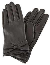 Pieces Dámske rukavice PCKASLE BOW LEATHER GLOVE Black M