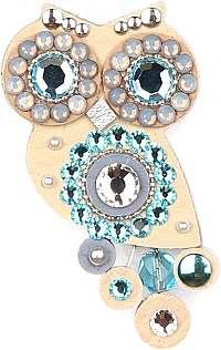 Sovičky Malá sovie brošňa bielo-modrá