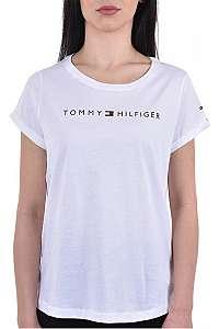 Tommy Hilfiger Dámske tričko Tommy Original Rn Tee Ss Logo UW0UW01618-100 White M