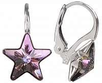 Troli Dievčenské strieborné náušnice Star 10 mm Vitrail Light