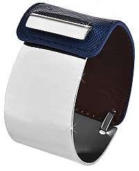 Troli Fashion náramok z ocele a kože strieborný / modrý