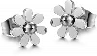 Troli oceľové kvietkované náušnice KES-035 silver