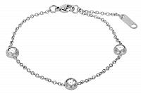 Troli oceľový náramok s trblietavými ozdobami SW-WC028 silver