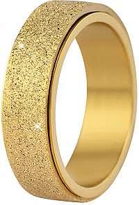 Troli Oceľový snubný prsteň zlatý / trblietavý 57 mm